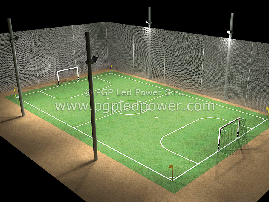 campo calcetto 4 fari led 200W pgp led power