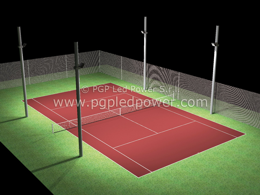 campo tennis 4 fari led 150W pgp led power